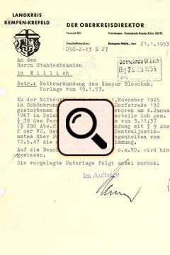 Bloschak Totenschein 1 (1953)