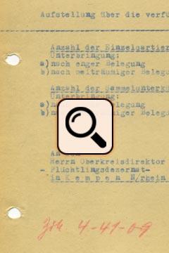 Flüchtlinge nach 1945 - Einzel- und Sammelunterkünfte (1946)