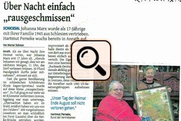 Johanna  Marx- Erlebnisbericht (Presseartikel 2012)