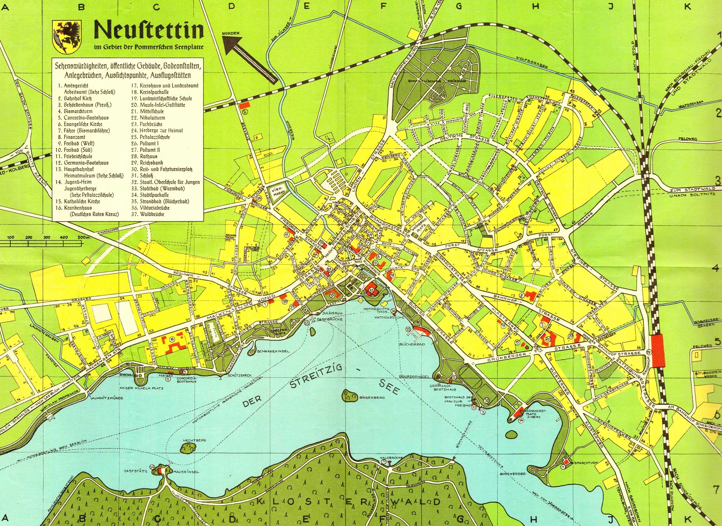 Stadtplan Neustettin