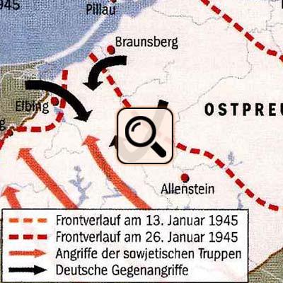 Frontverlauf in Ostpreussen im Januar 1945