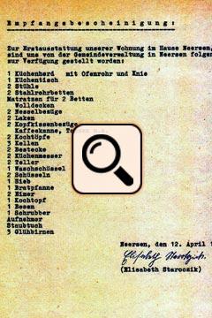 Empfangsbescheinigung Erstausstattung Neersen (1953)
