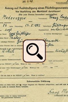 Moderegger - Antrag Flüchtlingsausweis