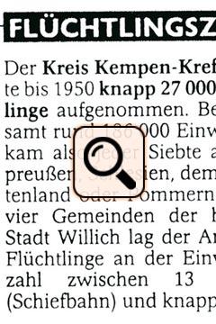 Presse - Kriegsende Flüchtlinge Zahlen Willich (2005)