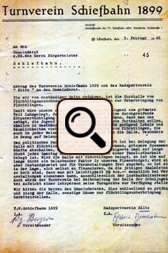 Turnverein Schiefbahn Schreiben (1946)