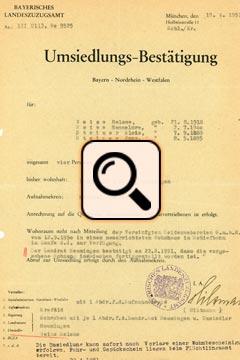 Umsiedlungsbestätigung Weiß (1951)